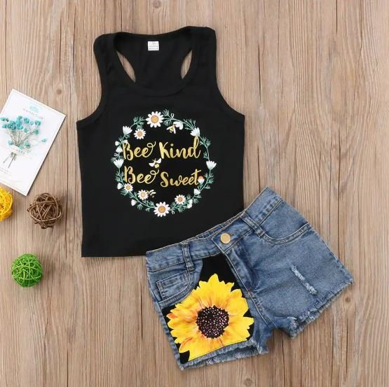 T Back Top with Sunflower Shorts