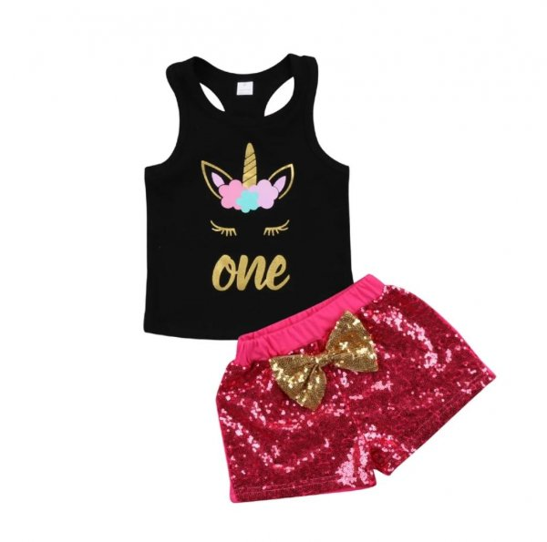 Unicorn Top with Sequin Shorts