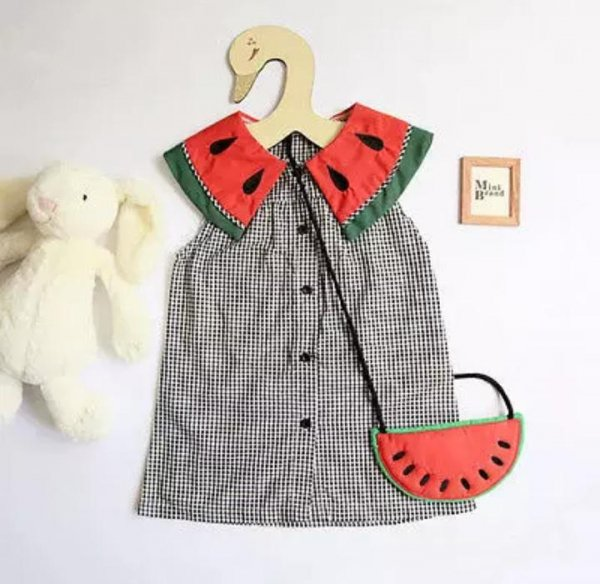 Watermelon Sweet Casual Dress With Bag