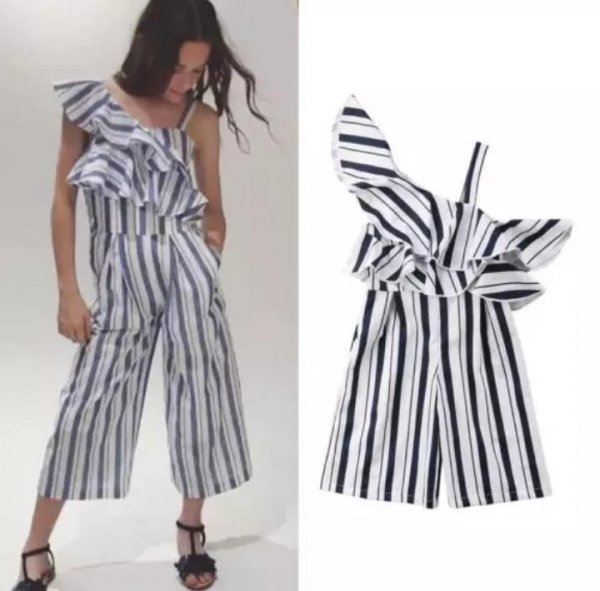 White & Black Stripped Playsuit
