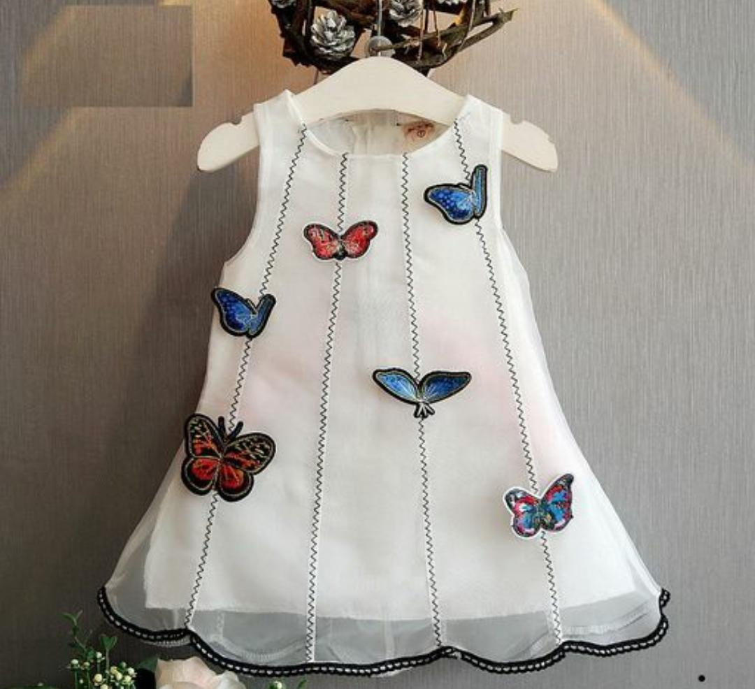 White Butterfly Applique Dress