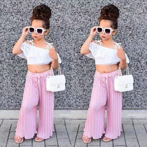 White Crop Top With Pink Bottom
