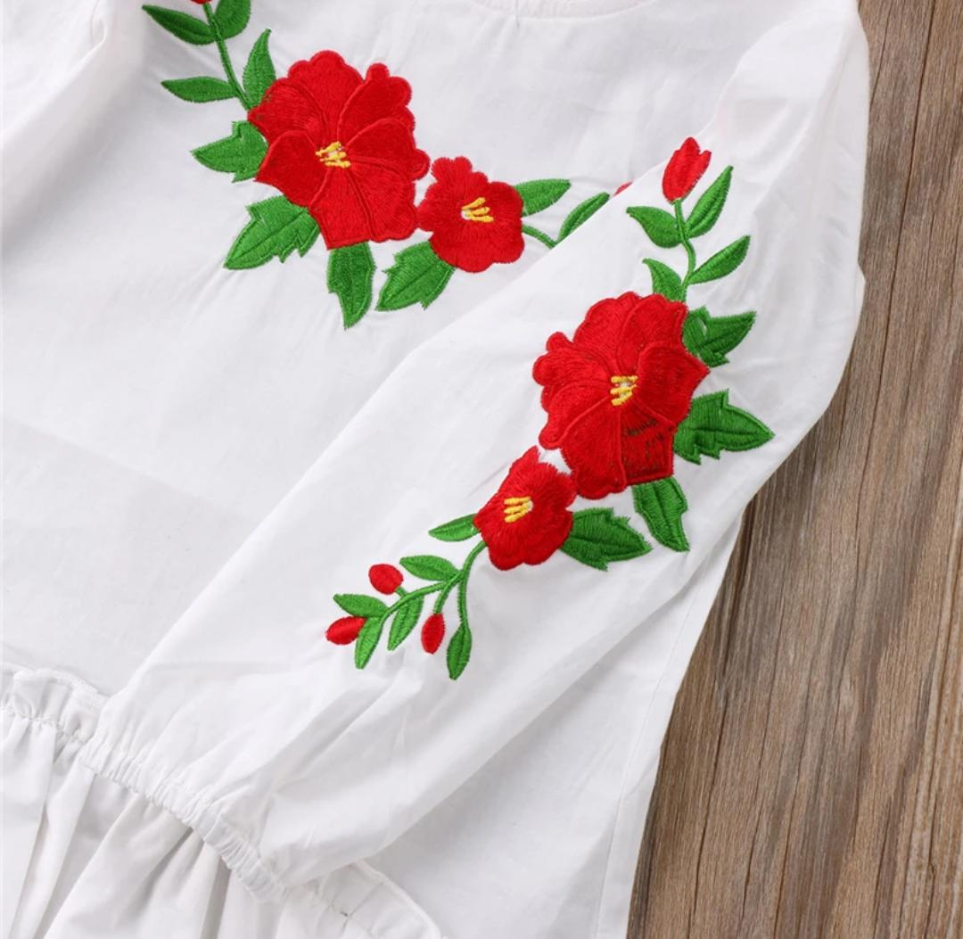 White Embroidered High low Tunic Dress
