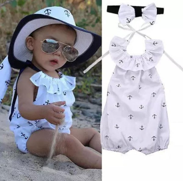White Halterneck Romper with Headband