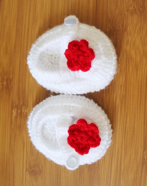 White Handmade Booties with Red Flower