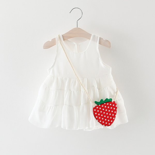 White Infant Frock With Bag