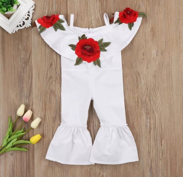 White Jumpsuit with Applique