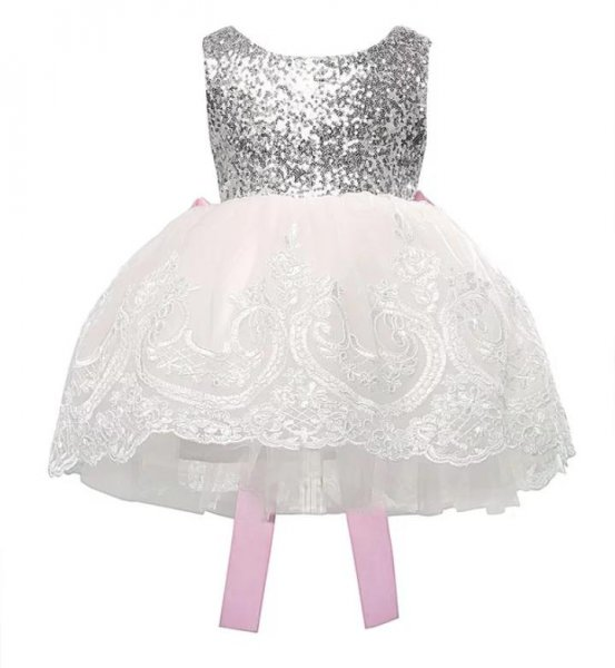 White Princess Dress with Big Pink Bow