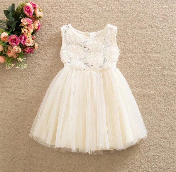 White Ribbon work Dress