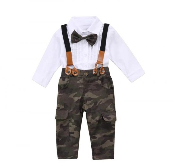 White Shirt With Army Pant & Suspenders