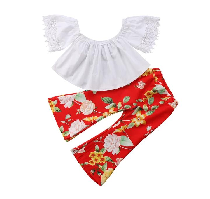 White Top With Red Floral Pant