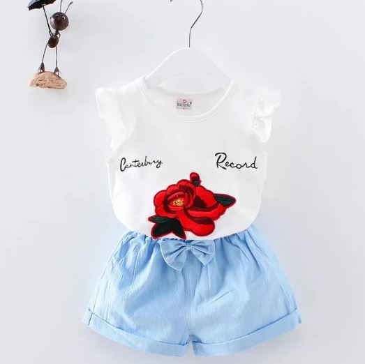 White Top With Rose Applique & Light Blue Short