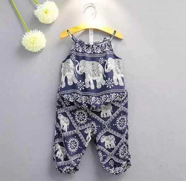 With Strapped Elephant Printed Suit