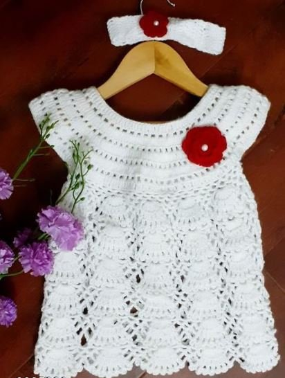 Woolen White Frock with Headband