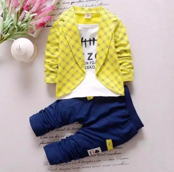 Yellow Attached Blazer Set for Boys