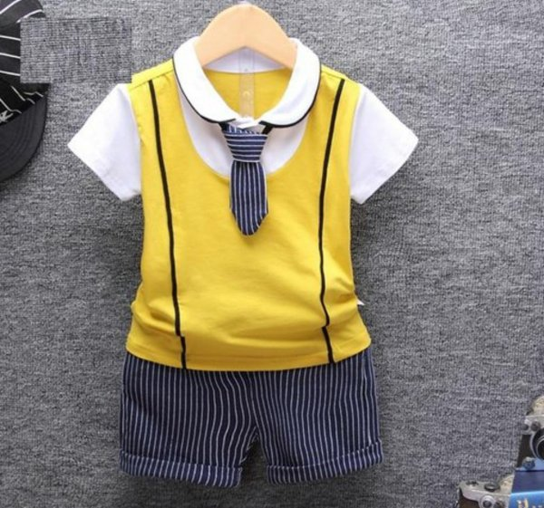 Yellow Boys 2 Pc Set with Tie