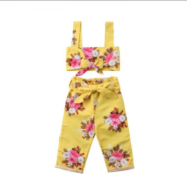 Yellow Crop Top with Culottes Set