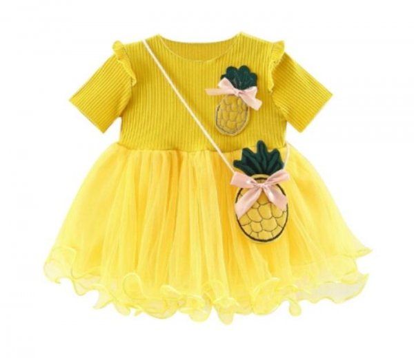 Yellow Cute Frock with Bag