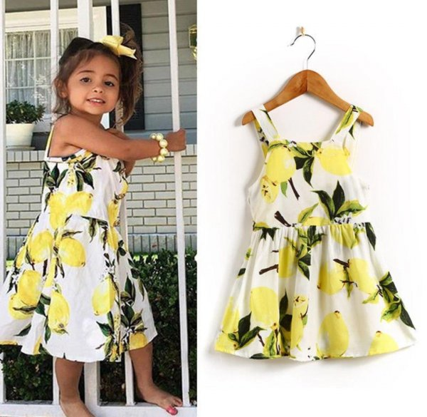 Yellow Floral Dress For Infants