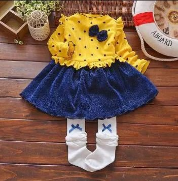 Yellow Full Sleeve Frock With attached Bow