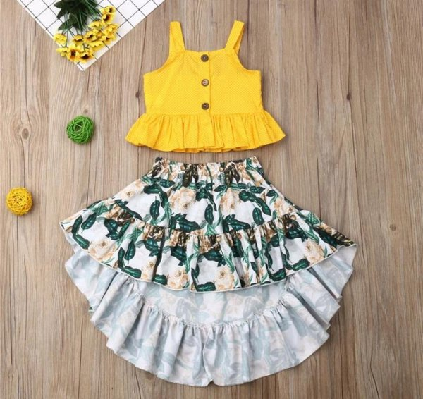 Yellow High Low Skirt Set