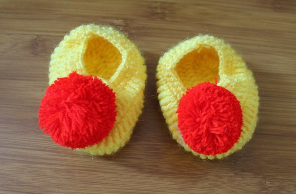 Yellow Pom Pom Handmade Booties