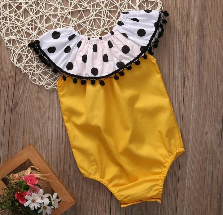 Yellow Romper With Black Lace