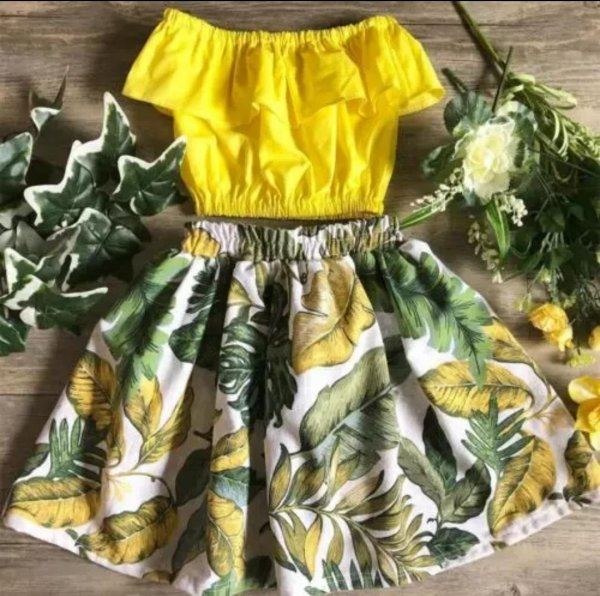 Yellow Skirt Set in Cotton