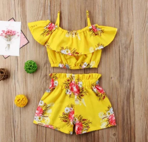 Yellow Strap Top with Shorts