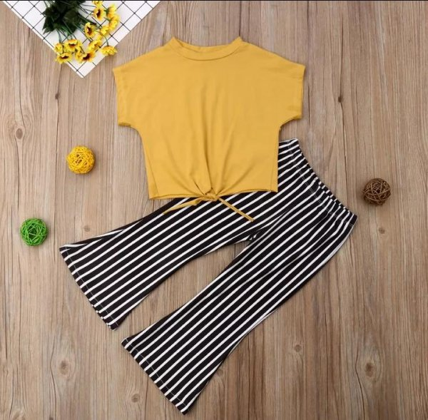 Yellow Top With Black Stripped Bottom